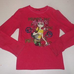 Pink Girly Sparkly Shirt Girl Size 15